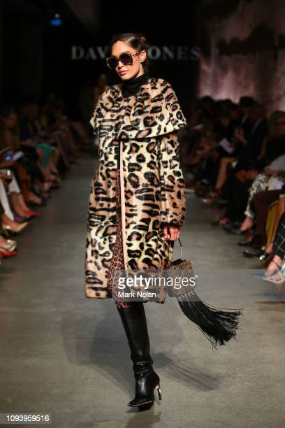 A model showcases designs by Carla Zampatti during the David Jones AW19 Season Launch 'The Art of Living' at The Museum of Old and New Art on...
