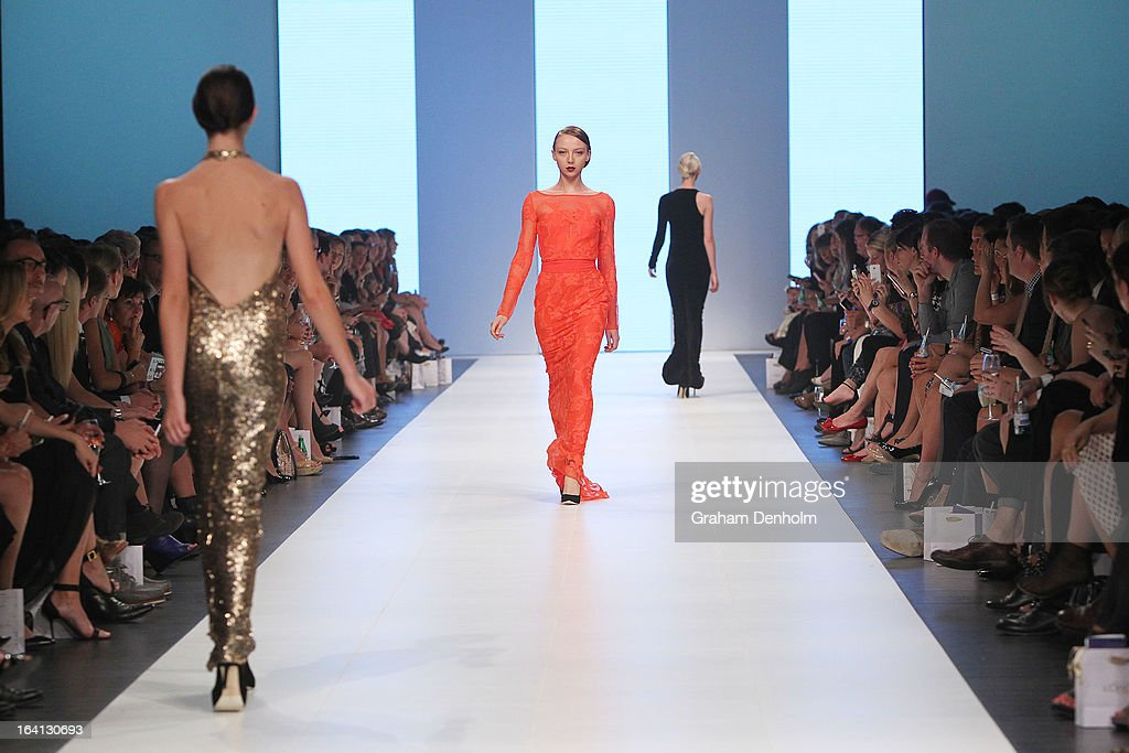A model showcases designs by Carla Zampatti on the runway at the L'Oreal Paris Runway 1 show during day three of L'Oreal Melbourne Fashion Festival on March 20, 2013 in Melbourne, Australia.