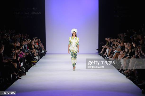 Model showcases designs by Carlie Waterman in the Innovators group show on the catwalk on day four of Mercedes-Benz Fashion Week Australia...