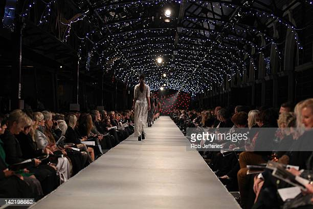 A model showcases designs by Carlson on the catwalk during the iD Dunedin Fashion Show at Dunedin Railway Station on March 31 2012 in Dunedin New...