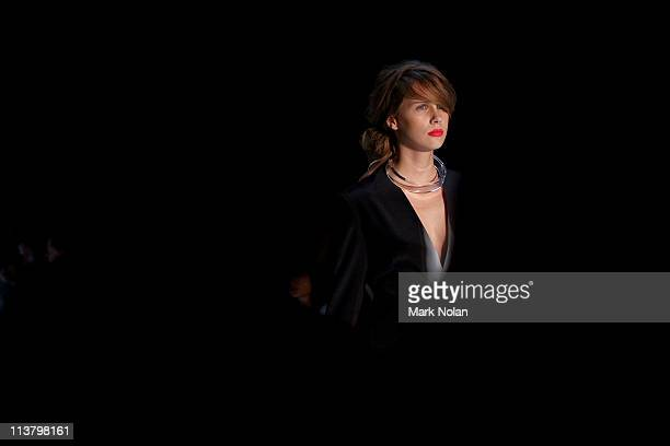 Model showcases designs by Christopher Dobosz during the New Generation 1 catwalk during Rosemount Australian Fashion Week Spring/Summer 2011/12 at...