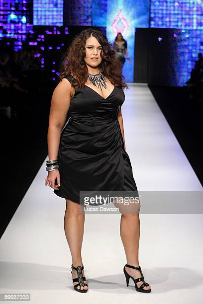 A model showcases designs by City Chic on the catwalk at Rosemount Sydney Fashion Festival 2009 at Martin Place Collection Showroom on August 20 2009...