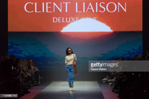 A model showcases designs by Client Liaison Deluxe Line at Melbourne Fashion Festival on March 9 2019 in Melbourne Australia