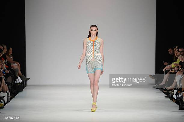 Model showcases designs by Cynthia Thai of the Innovators group show on the catwalk on day four of Mercedes-Benz Fashion Week Australia Spring/Summer...