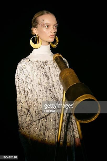 A model showcases designs by Danish designer Stine Goya during Day 2 of Copenhagen Fashion Week on January 31 2013 in Copenhagen Denmark