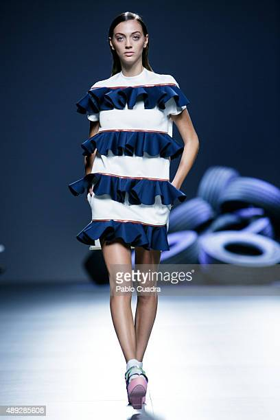 A model showcases designs by David Delfin on the runway at the Davidelfin show during MercedesBenz Fashion Week Madrid Spring/Summer 2016 at Ifema on...