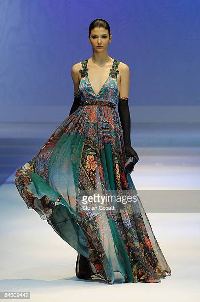 A model showcases designs by Deng Hao as part of the Fashion Shenzen show on the catwalk as part of Hong Kong Fashion Week Fall/Winter 2009 at the...