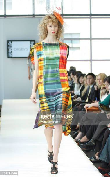 A model showcases designs by Digbys as part of the Melbourne's GPO Racing into Spring Fashion Parade catwalk show on the second day of Melbourne...