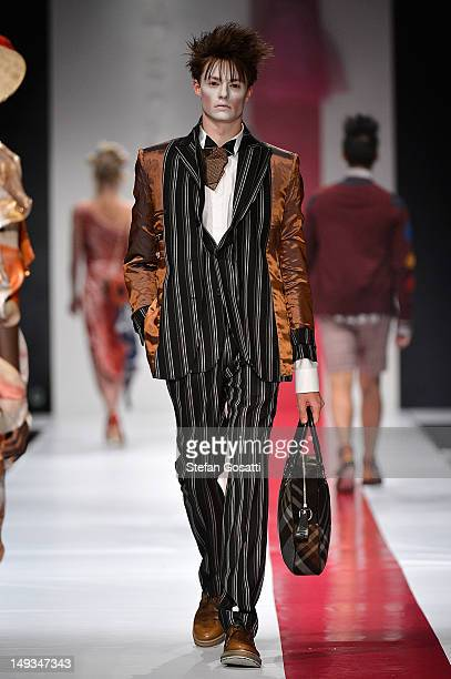 Model showcases designs by Dilettante presenting Vivienne Westward on the catwalk during StyleAID 2012 at the Burswood Entertainment Complex on July...
