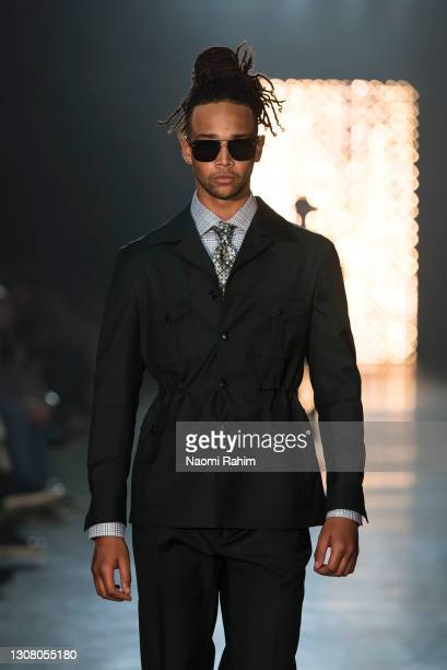 Model showcases designs by Dom Bagnato during Runway 6 at Melbourne Fashion Festival on March 19, 2021 in Melbourne, Australia.