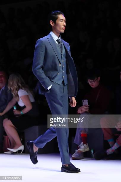 Model showcases designs by Dom Bagnato during Town Hall Runway 7 at Melbourne Fashion Week at Melbourne Town Hall on September 05, 2019 in Melbourne,...