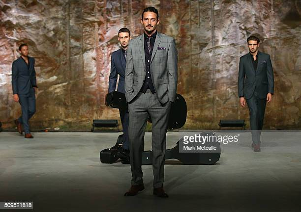 Model showcases designs by Dom Bagnato on the runway at the Myer AW16 Fashion Launch on February 11, 2016 in Sydney, Australia.