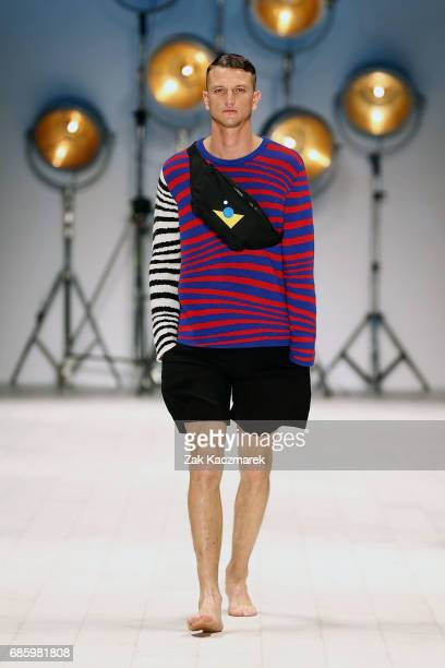 A model showcases designs by Double Rainbouu during MercedesBenz Fashion Week Weekend Edition at Carriageworks on May 20 2017 in Sydney Australia