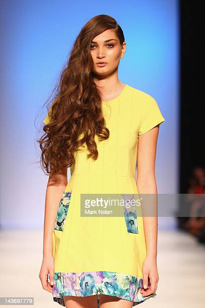 Model showcases designs by Elliatt on the catwalk during the New Generation 1 group show on day four of Mercedes-Benz Fashion Week Australia...