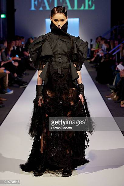 Model showcases designs by Ellie Meyer during the Student Runway show as part of Perth Fashion Week 2010 at Fashion Paramount on September 13, 2010...