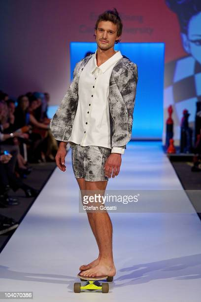 Model showcases designs by Emma Young during the Student Runway show as part of Perth Fashion Week 2010 at Fashion Paramount on September 13, 2010 in...