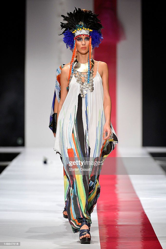 A model showcases designs by Empire Rose on the catwalk during StyleAID 2012 at the Burswood Entertainment Complex on July 27, 2012 in Perth, Australia.