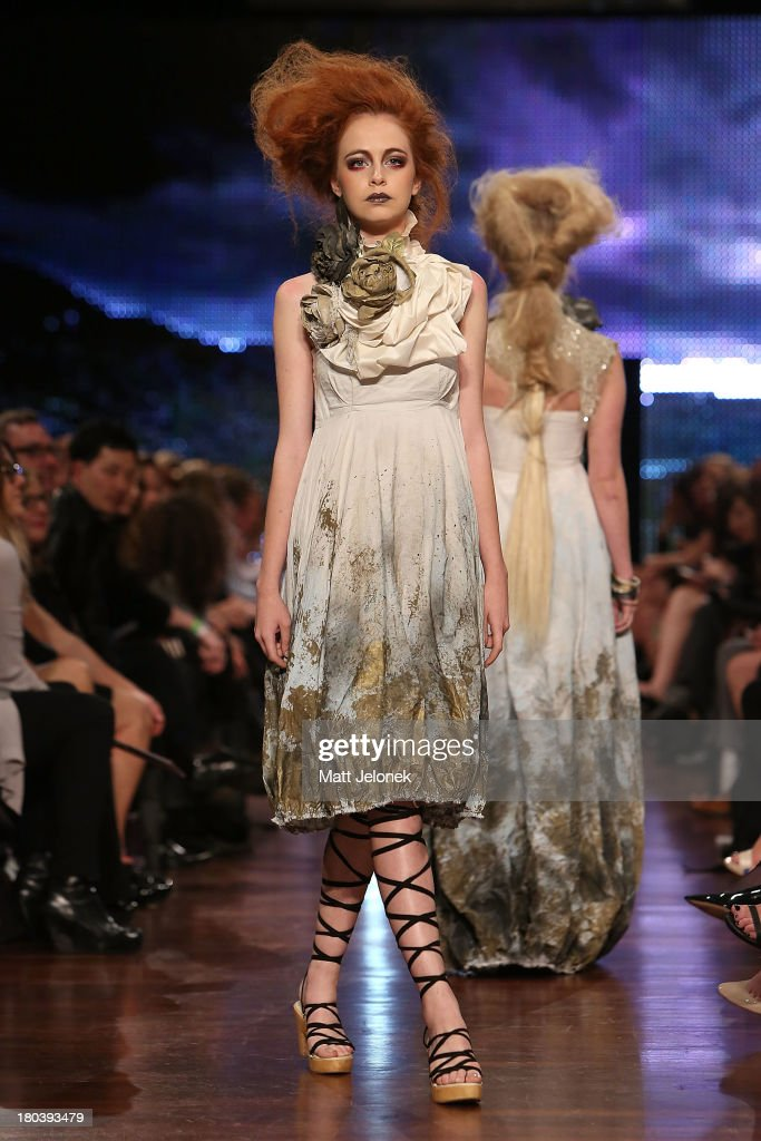 A model showcases designs by Empire Rose on the runway during Perth Fashion Festival at the Western Australian Museum on September 12, 2013 in Perth, Australia.