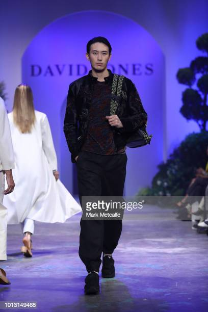 A model showcases designs by Emporio Armani during the David Jones Spring Summer 18 Collections Launch at Fox Studios on August 8 2018 in Sydney...