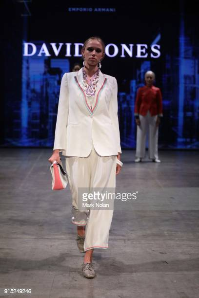 A model showcases designs by Emporio Armarni during the David Jones Autumn Winter 2018 Collections Launch at Australian Technology Park on February 7...