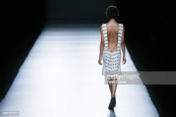 A model showcases designs by Etxeberria on the runway at the Etxeberria show during MercedesBenz Fashion Week Madrid Spring/Summer 2016 at Ifema on...