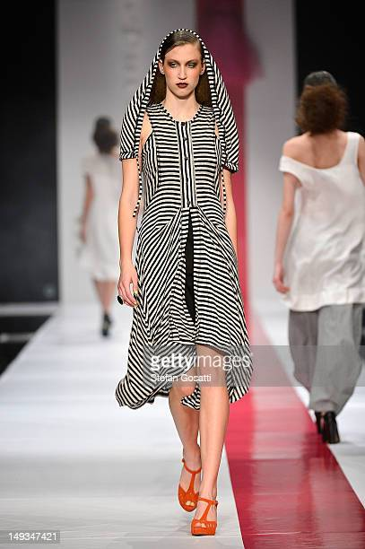 Model showcases designs by Fenella Peacock on the catwalk during StyleAID 2012 at the Burswood Entertainment Complex on July 27, 2012 in Perth,...