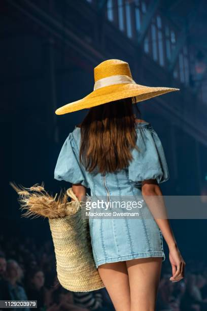 A model showcases designs by Finders Keepers during Runway 5 at Melbourne Fashion Festival on March 8 2019 in Melbourne Australia