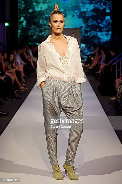 Model showcases designs by Flannel during the WA Designers Collection 1 catwalk show as part of Perth Fashion Week 2010 at Fashion Paramount on...