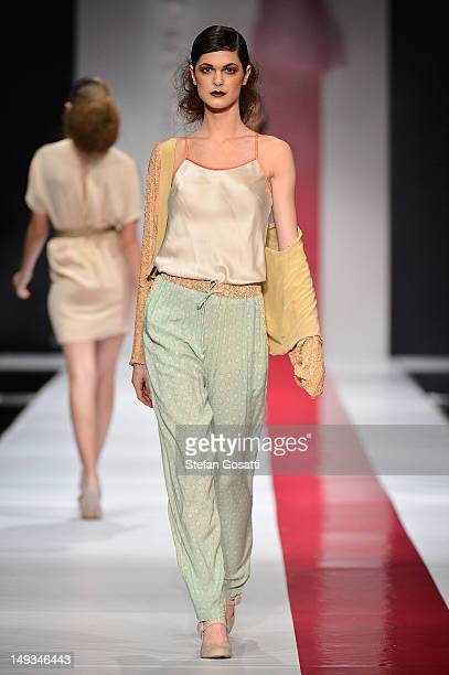 Model showcases designs by Flannel on the catwalk during StyleAID 2012 at the Burswood Entertainment Complex on July 27, 2012 in Perth, Australia.