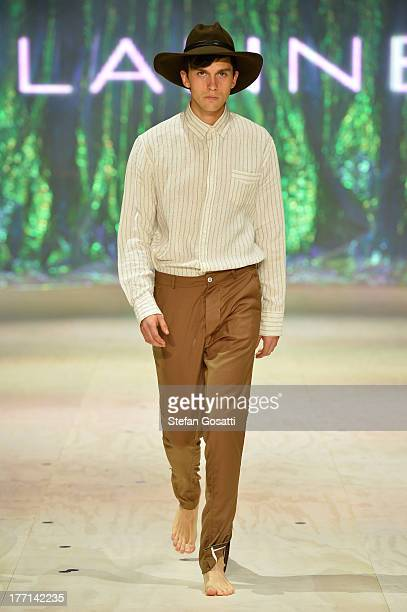 A model showcases designs by Flannel on the runway at the MBFWA Trends show during MercedesBenz Fashion Festival Sydney 2013 at Sydney Town Hall on...