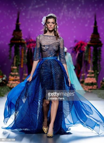 A model showcases designs by Francis Montesinos on the runway at the Francis Montesinos show during MercedesBenz Fashion Week Madrid Spring/Summer...