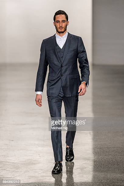 A model showcases designs by French83 on the runway during 2016 New Zealand Fashion Week on August 22 2016 in Auckland New Zealand