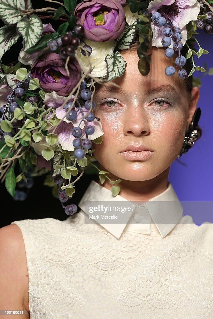A model showcases designs by Gabriel Lee on the runway at the Raffles show during Mercedes-Benz Fashion Week Australia Spring/Summer 2013/14 at Carriageworks on April 10, 2013 in Sydney, Australia.