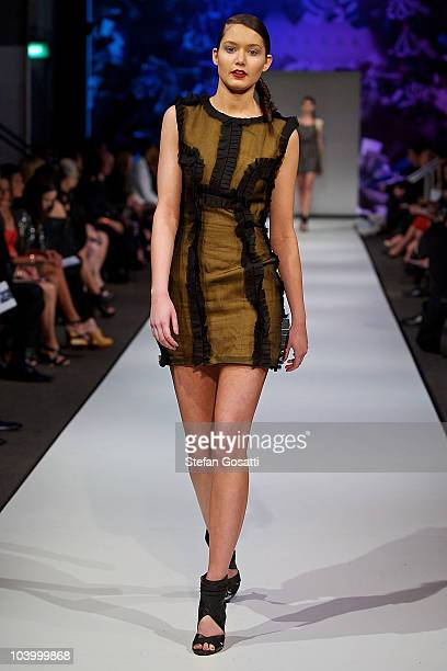 Model showcases designs by Garth Cook during the WA Designers Collection 2 catwalk show as part of Perth Fashion Week 2010 at Fashion Paramount on...
