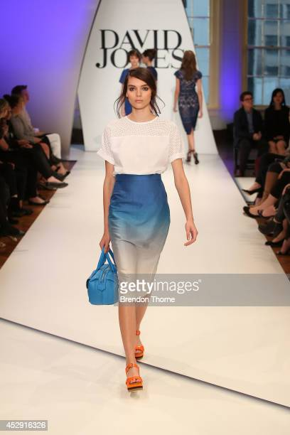 A model showcases designs by Gary Bigeni during a rehearsal ahead of the David Jones Spring/Summer 2014 Collection Launch at David Jones Elizabeth...