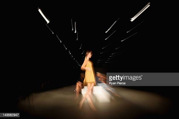 A model showcases designs by Gary Bigeni on the catwalk on day one of MercedesBenz Fashion Week Australia Spring/Summer 2012/13 at the Overseas...