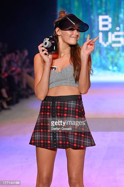 A model showcases designs by General Pants Co on the runway at the General Pants show during MercedesBenz Fashion Festival Sydney 2013 at Sydney Town...