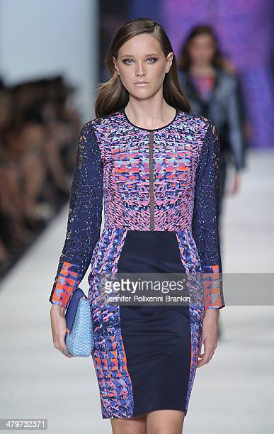 A model showcases designs by Ginger Smart on the runway during the Premium Runway 4 Presented by Elle Australia show at Melbourne Fashion Festival on...
