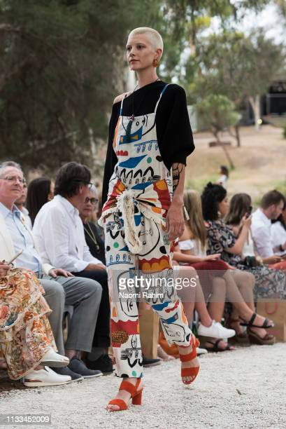 Model showcases designs by Gorman at the Heide Museum of Modern Art for Melbourne Fashion Festival on March 3, 2019 in Melbourne, Australia.