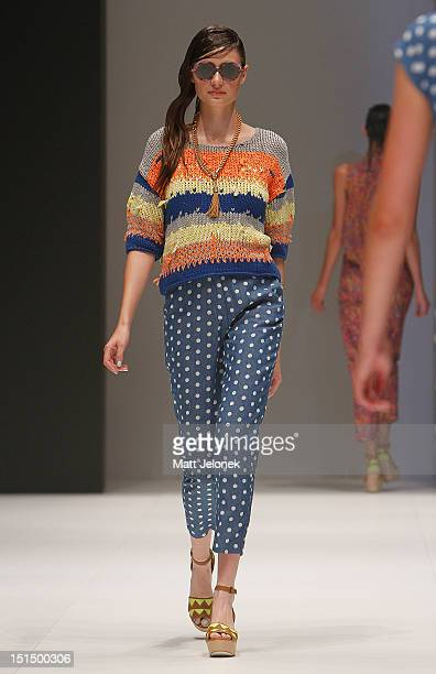 A model showcases designs by Gorman on the catwalk on day 6 of Melbourne Spring Fashion Week 2012 at Melbourne Town Hall on September 8 2012 in...