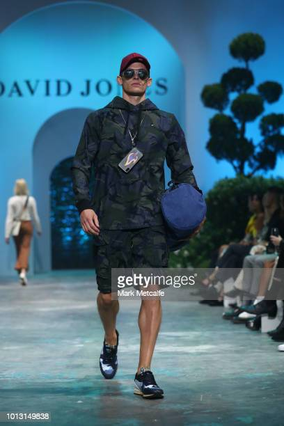 A model showcases designs by GStar during the David Jones Spring Summer 18 Collections Launch at Fox Studios on August 8 2018 in Sydney Australia