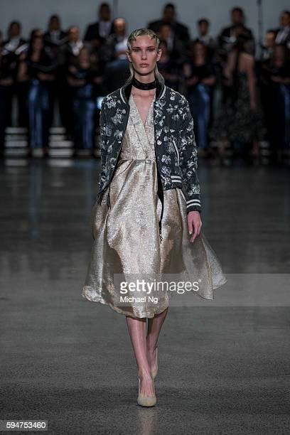 A model showcases designs by Hailwood on the runway during 2016 New Zealand Fashion Week on August 24 2016 in Auckland New Zealand