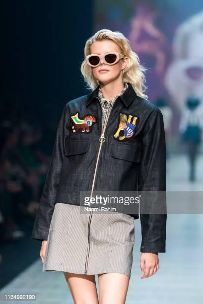 Model showcases designs by Handsom at Melbourne Fashion Festival on March 9, 2019 in Melbourne, Australia.