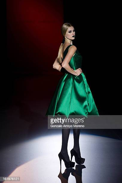 A model showcases designs by Hannibal Laguna on the runway at the Hannibal Laguna show during Mercedes Benz Fashion Week Madrid Fall/Winter 2013/14...