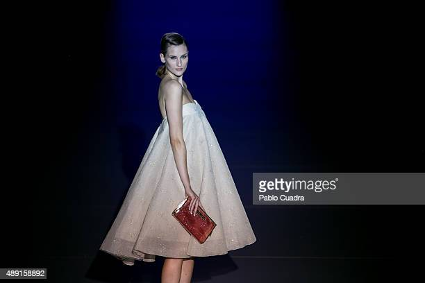 A model showcases designs by Hannibal Laguna on the runway at the Hannibal Laguna show during MercedesBenz Fashion Week Madrid Spring/Summer 2015/16...