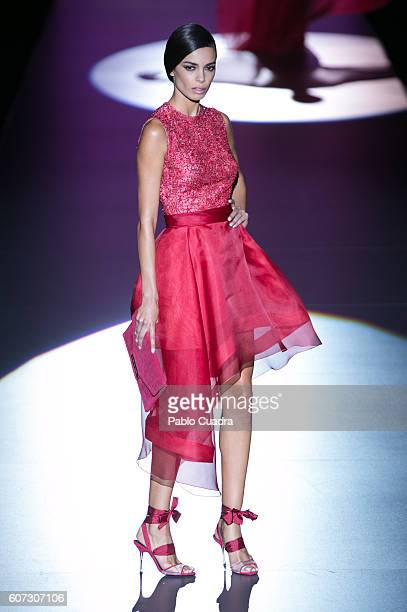 A model showcases designs by Hannibal Laguna on the runway at the Hannibal Laguna show during MercedesBenz Fashion Week Madrid Spring/Summer 2017 at...