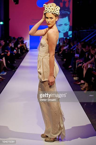 Model showcases designs by Hariette Gordon during the Student Runway show as part of Perth Fashion Week 2010 at Fashion Paramount on September 13,...