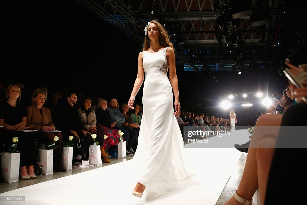 A model showcases designs by Hera Couture during the New Zealand Weddings Magazine Collection show at New Zealand Fashion Week 2015 on August 26, 2015 in Auckland, New Zealand.