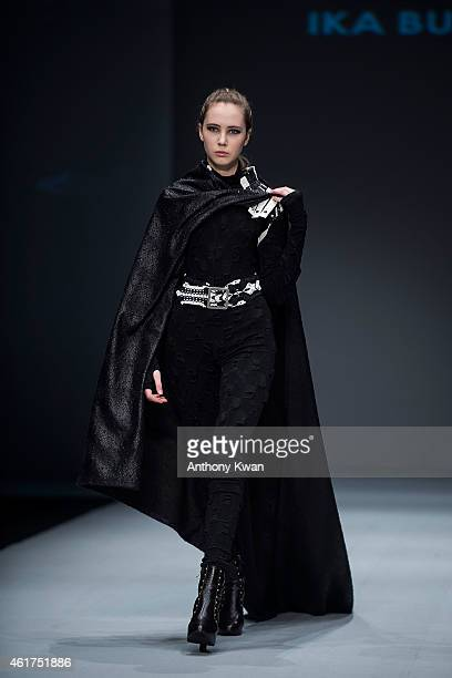 A model showcases designs by IKA Butoni on the runway during the Brand Collections' Show on day 1 of Hong Kong Fashion Week Fall/Winter 2015 at the...