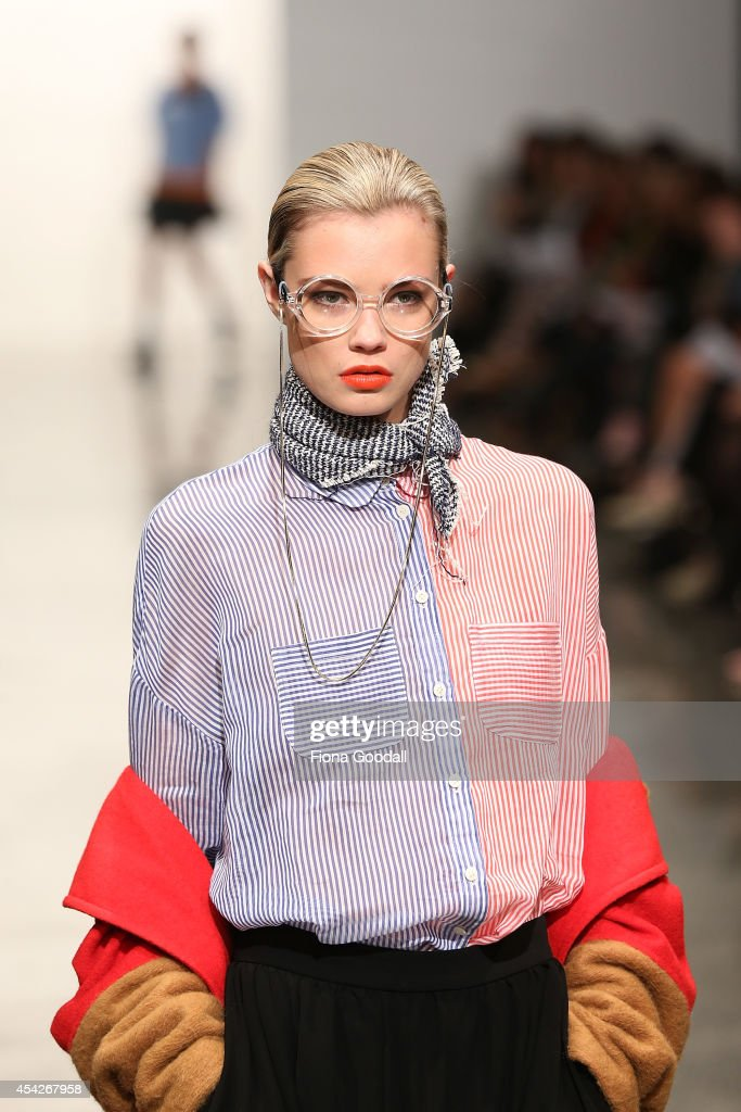 A model showcases designs by ITZME in the new Generation Show at New Zealand Fashion Week 2014 on August 28, 2014 in Auckland, New Zealand.